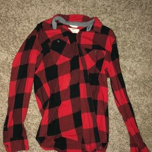 red an black checkered flannel